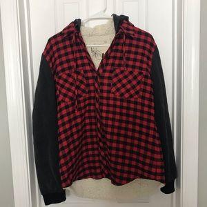 Fleece Lined Flannel Hooded Sweatshirt Red / Black